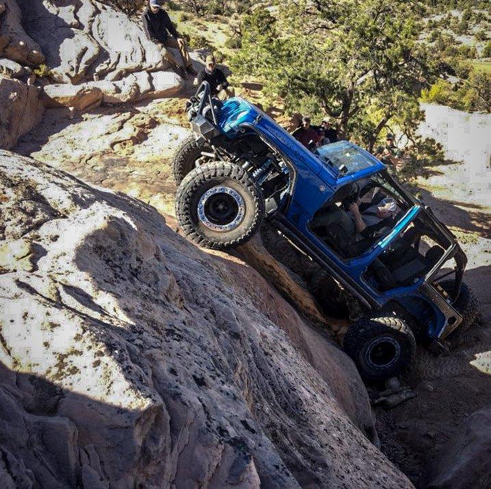 Jeep on steep wall Moab Widowmaker